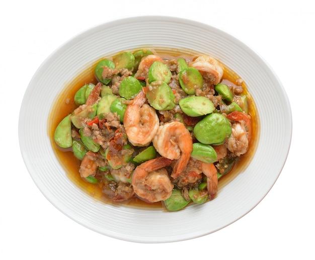 Fried parkia wth shrimp and source.