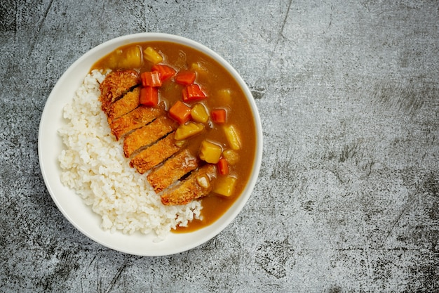 Fried pork cutlet curry with rice on dark surface