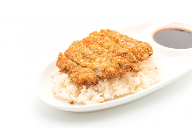 Fried pork on topped rice (tonkatsu)