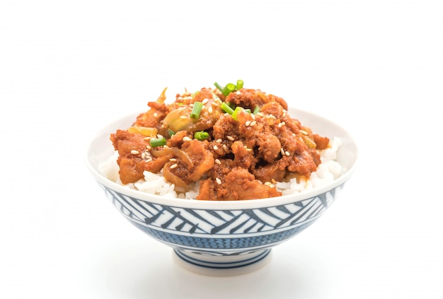 Fried pork with spicy korean sauce (bulgogi) on top rice