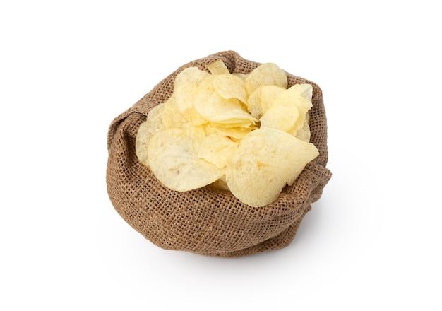 Fried potato slice in sack on white background