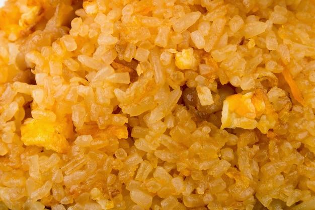 Fried rice pork closeup