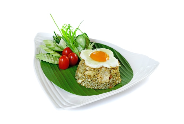 Fried rice with chicken(khao phad) thai food on white background