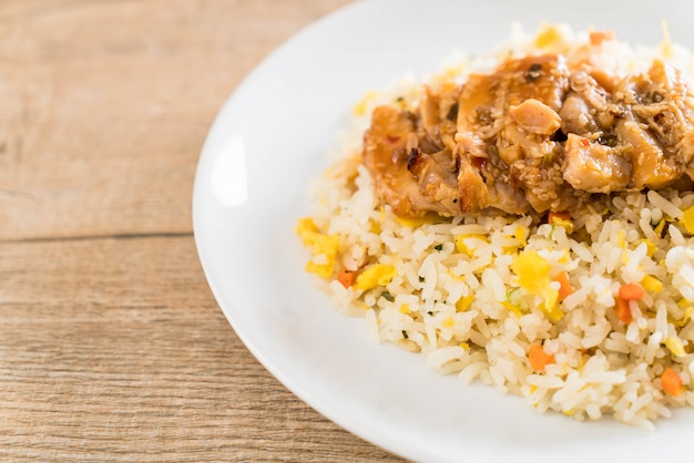 Fried rice with grilled chicken and teriyaki sauce