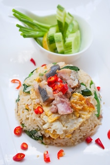 Fried rice with salted fish and chinese kale
