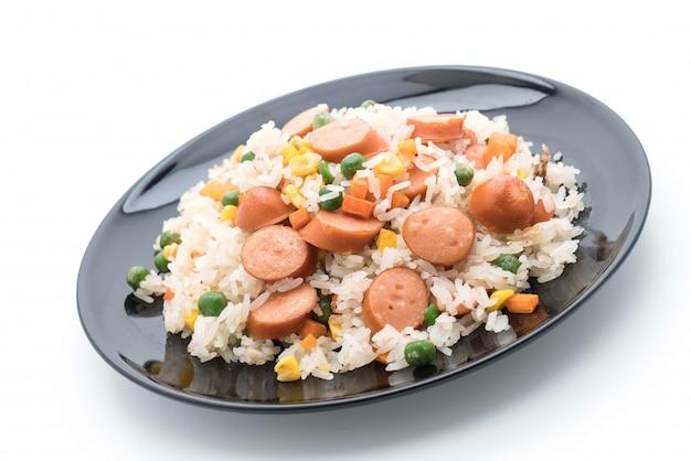 炒め米とソーセージ