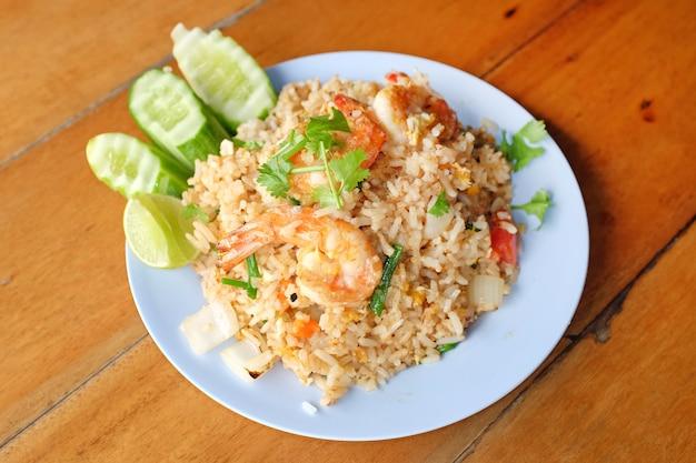 해산물 볶음밥. 태국 맛있는 인기 음식.