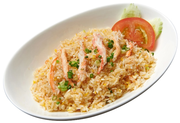 Fried rice with shrimp isolated on white background