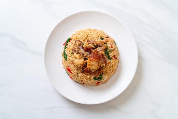 Fried rice with thai basil and crispy belly pork - thai food style