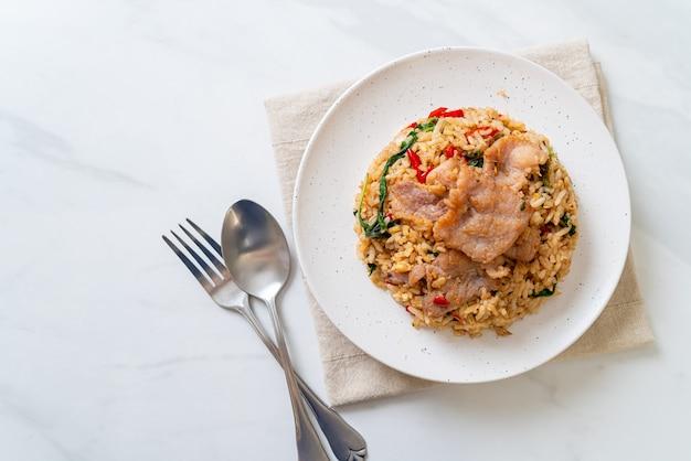 Fried rice with thai basil and pork - thai food style