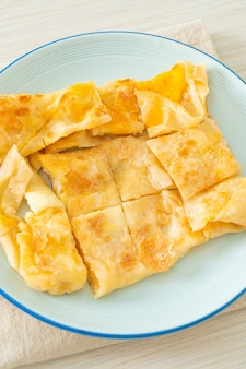 Fried roti with egg and sweetened condensed milk