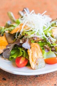 Fried salmon salad