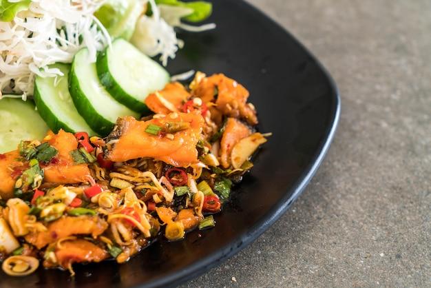 Fried salmon spicy salad