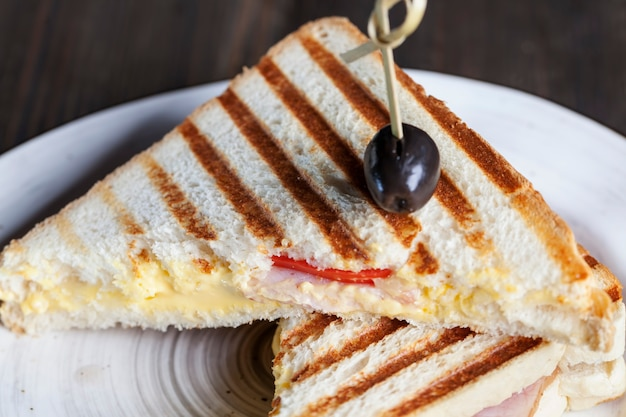 Fried sandwich of white wheat bread