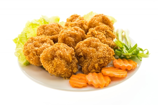 Fried shrimp or prawn cake in white plate