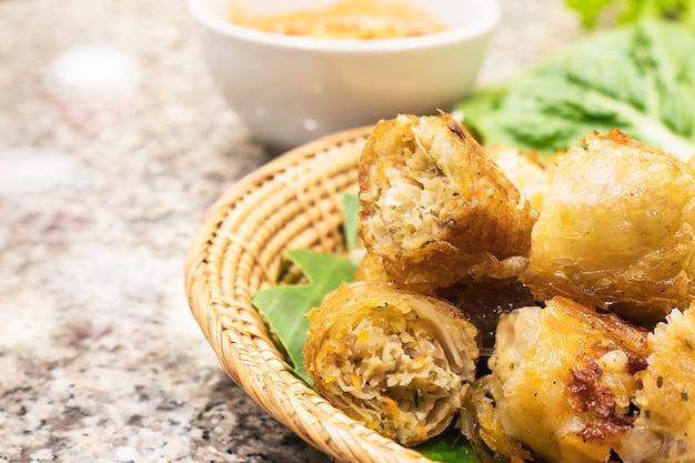 Fried spring rolls in vietnamese food restaurant