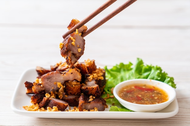 Fried streaky pork or crispy pork or deep fried pork belly