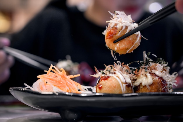 Fried takoyaki balls dumpling.