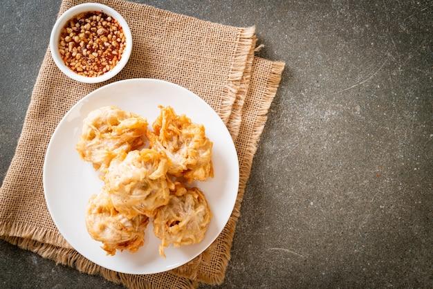 Fried taro with sauce, vegan and vegetarian food style