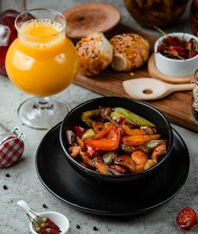 Fried vegetables on the table