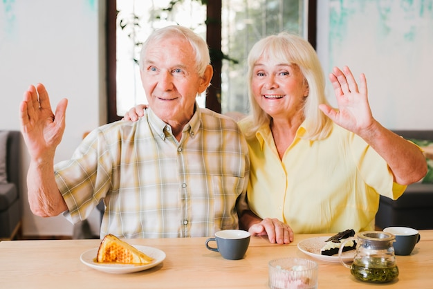 Friendly elderly couple waving with hands