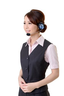 Friendly secretary/telephone operator on white wall.
