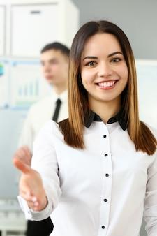Friendly woman in office