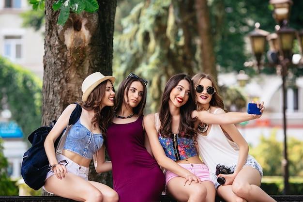 Friends becoming a selfie