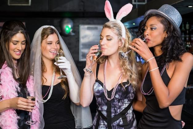 Friends celebrating bachelorette party