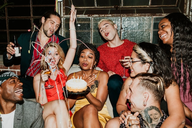 Friends celebrating at a birthday party