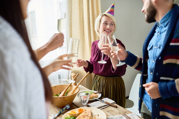 Friends celebrating birthday together