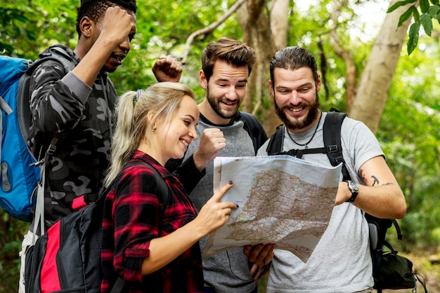 Friends checking the map for direction