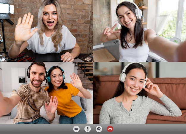 Friends or family making a videocall for catching up