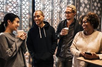 Friends having a coffee break