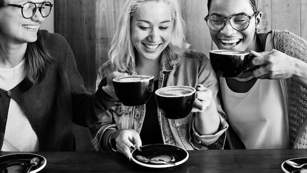 Friends having coffee at a cafe