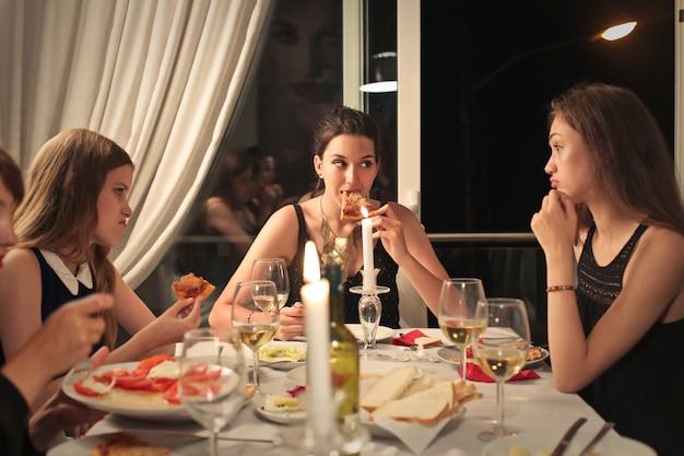 Friends having a dinner
