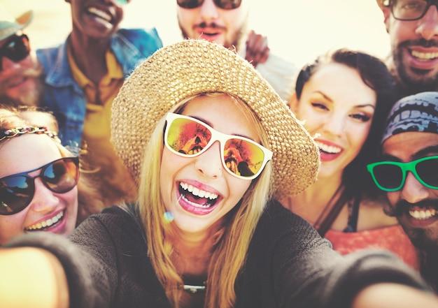Friends having fun at the beach