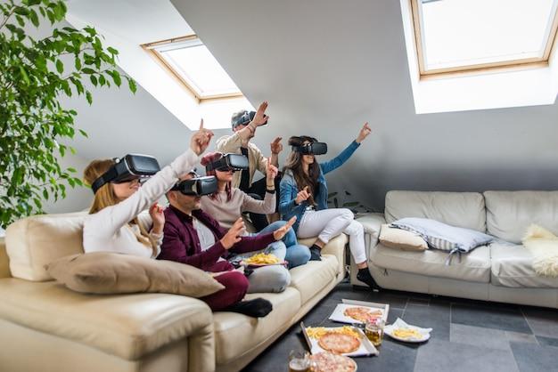 Friends having fun at home