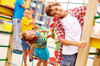 Friends having fun in the playground