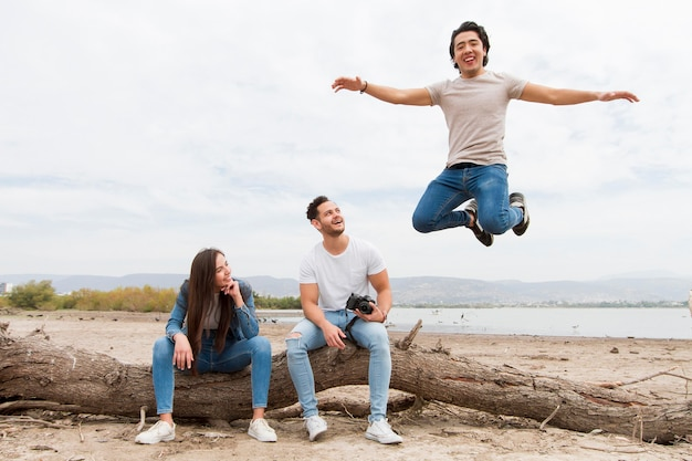 Friends having fun while traveling