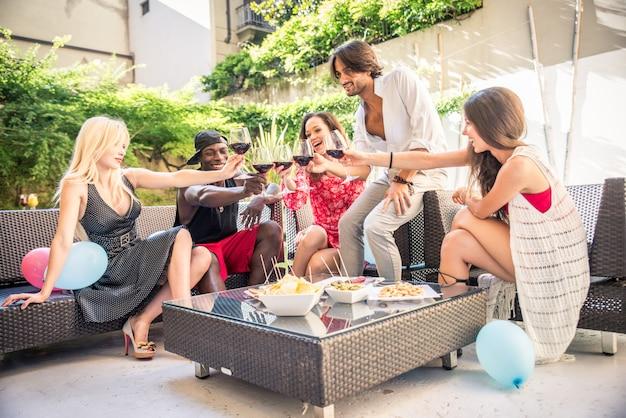 Friends having party