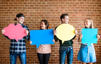 Friends holding up copyspace placard thought bubbles