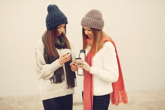 겨울 공원에있는 친구. knited 모자에 소녀. 보온병과 차를 가진 여성.