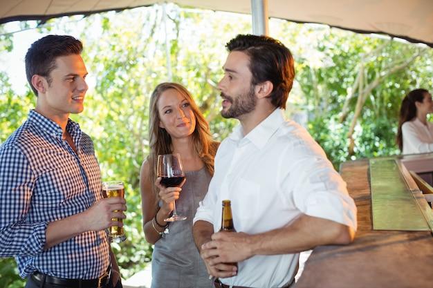 Друзья общаются, выпивая за стойкой алкоголь