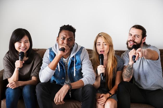 Friends at a karaoke