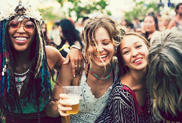 Friends partying at a music festival