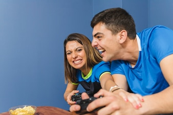 Friends playing on the console
