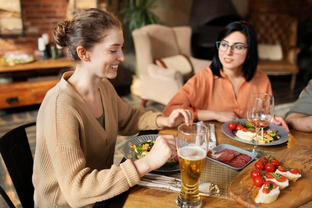 Friends reunion at restaurant