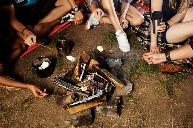 Друзья сидят возле костра, улыбаются, играют на гитаре, кемпинг, гриль, зефир.