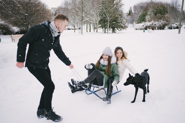 Friends and sled